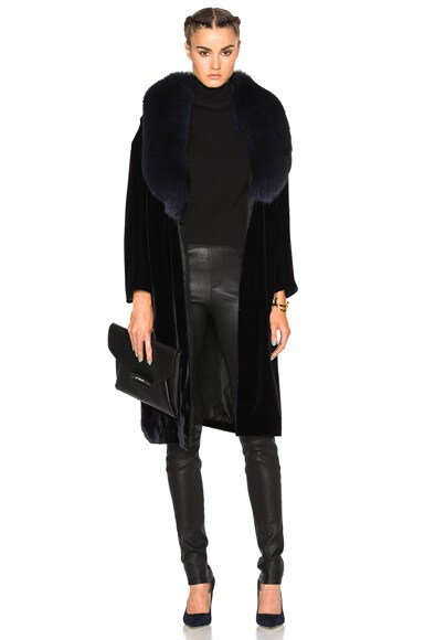 ThePerfext Penelope Fur & Velvet Jacket in Navy