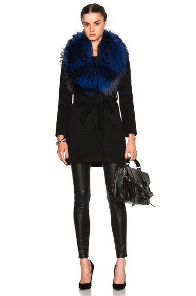 FWRD Exclusive Vanessa Coat with Fox Fur Collar