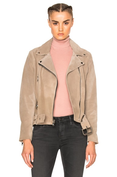 ThePerfext London Belted Suede Moto Jacket in Taupe