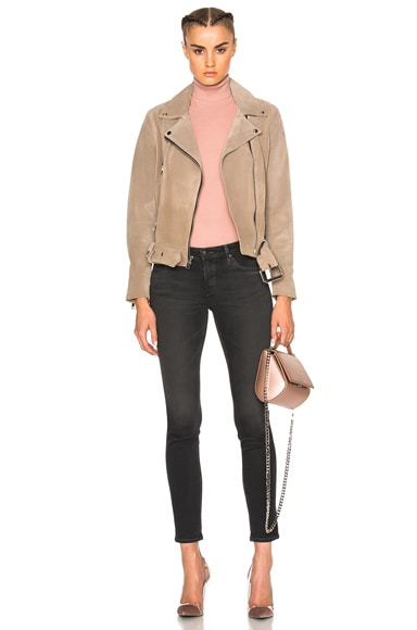 London Belted Suede Moto Jacket
