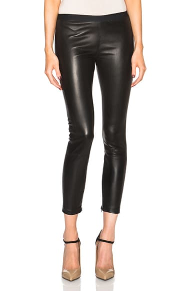 ThePerfext Brittany Leather Pants with Hidden Zipper in Black