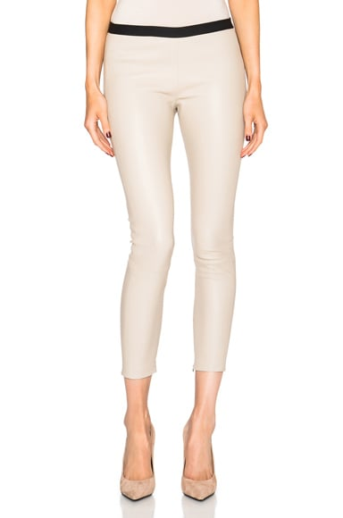 ThePerfext Brittany Leather Pants with Hidden Zipper in Oatmeal