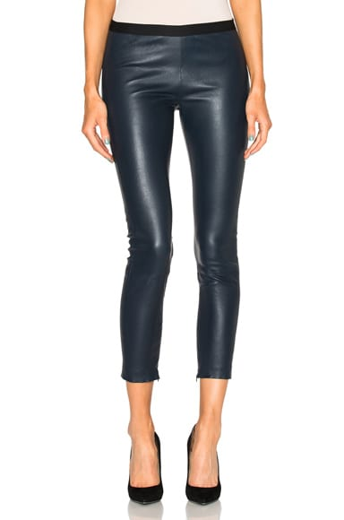ThePerfext Brittany Cropped Leather Pants in Navy