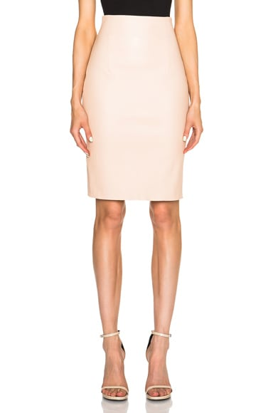 ThePerfext Amsterdam Stretch Leather Skirt in Camel