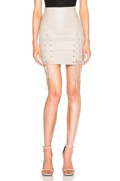 ThePerfext Leyla Stretch Leather Lace Up Skirt in Oatmeal