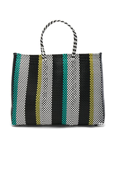 Truss Large Tote in Aqua & Yellow Stripe