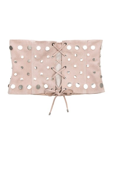 for FWRD Studded Suede Lace-Up Corset Belt
