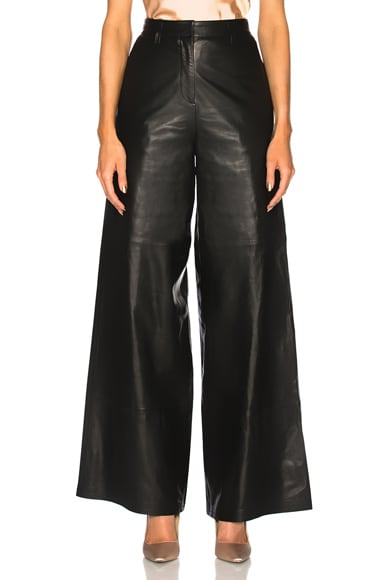 for FWRD Leather High Waisted Wide Leg Trousers