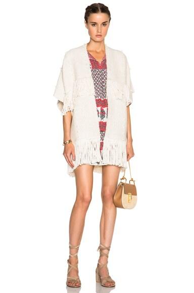 Ulla Johnson Fringe Cusco Wrap Sweater in Cream