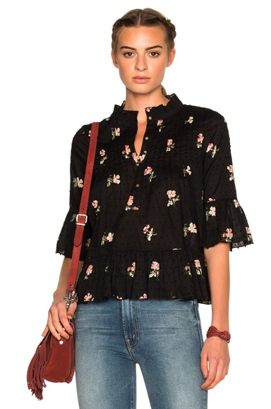 Ulla Johnson Charlotte Floral Print Swiss Dot Blouse in Flint