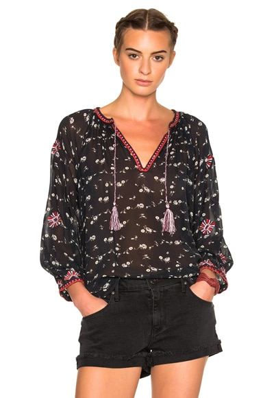 Ulla Johnson Lida Floral Georgette Blouse in Midnight