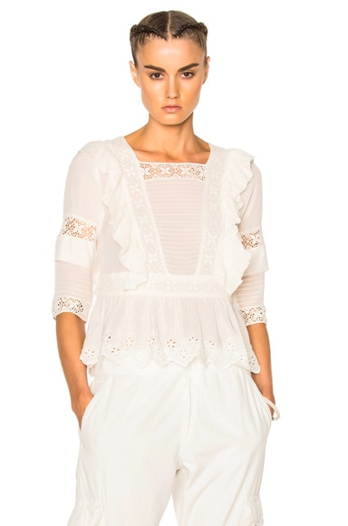 Ulla Johnson Charlotte Blouse in Snow