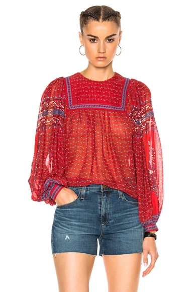 Ulla Johnson Minou Top in Scarlet