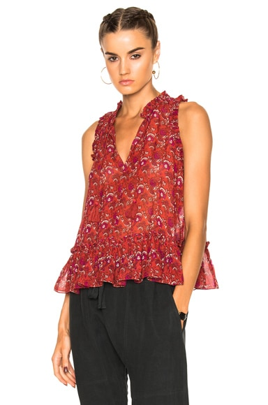 Ulla Johnson Cecile Blouse in Ruby