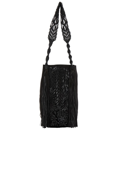 Ulla Johnson Embroidered Paloma Tote in Jet Leather