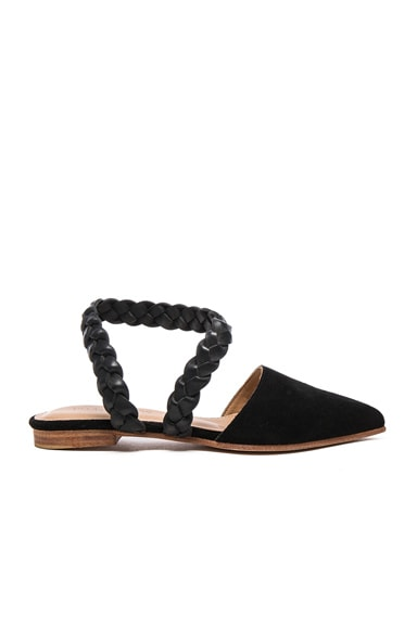 Ulla Johnson Suede Amalia D'Orsay Flats in Jet