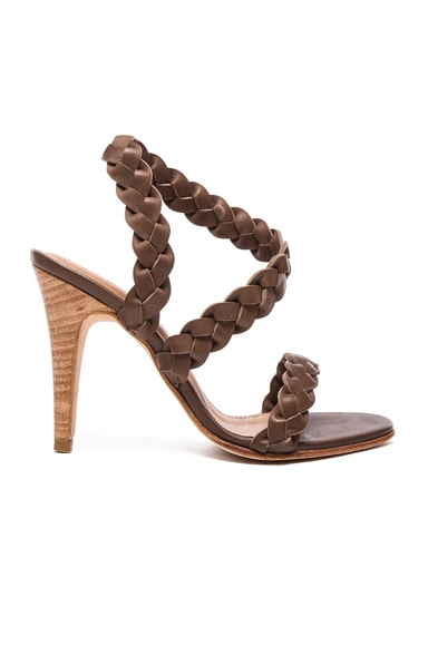Ulla Johnson Leather Sima Braided Heels in Taupe