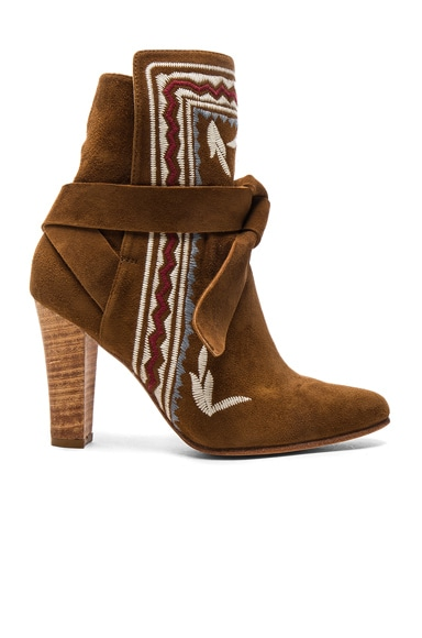 Ulla Johnson Embroidered Suede Aggie Booties in Saddle Suede