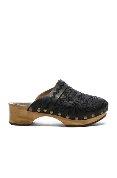 Ulla Johnson Embroidered Leather Nerimah Clogs in Jet Leather