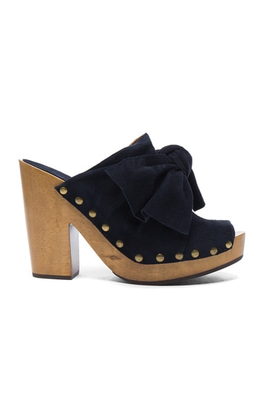Ulla Johnson Suede Stevie Clogs in Midnight Suede