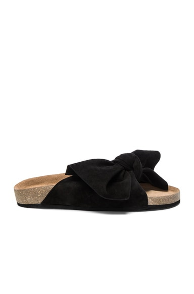 Ulla Johnson Suede Ingrid Slides in Black Suede