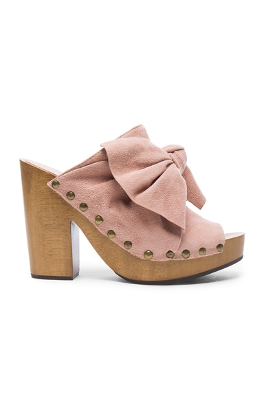 Ulla Johnson Suede Stevie Clogs in Rose Suede