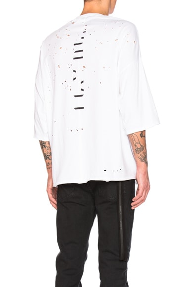 Unravel Distress Jersey Tee in White