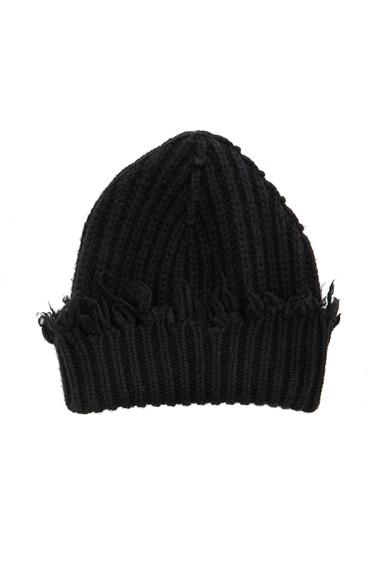 Unravel Rib Knit Beanie in Black