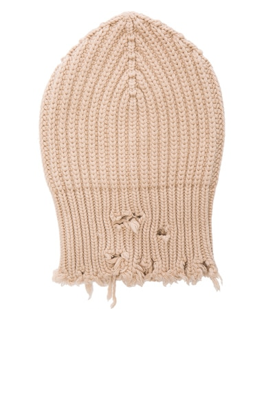 Unravel Rib Knit Beanie in Nude