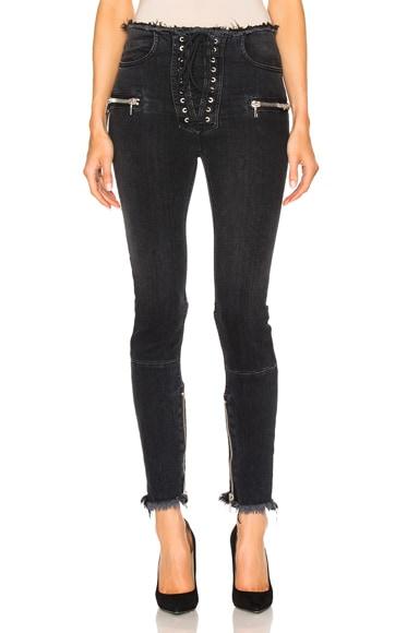 Unravel Stretch Denim Lace Up Skinny in Black