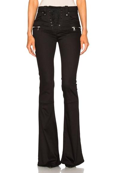 Unravel Denim Lace Up Flare Pants in Black