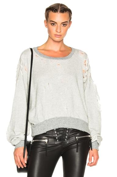 Unravel FWRD Exclusive Destroyed Oversize Crewneck Sweater in Heather Grey