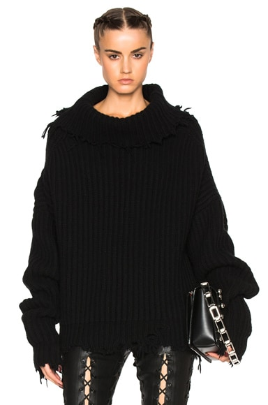 Unravel High Neck Oversized Rib Knit in Black