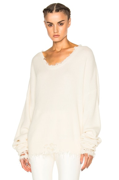 Unravel Knit Rib Oversized Crop Crew in White
