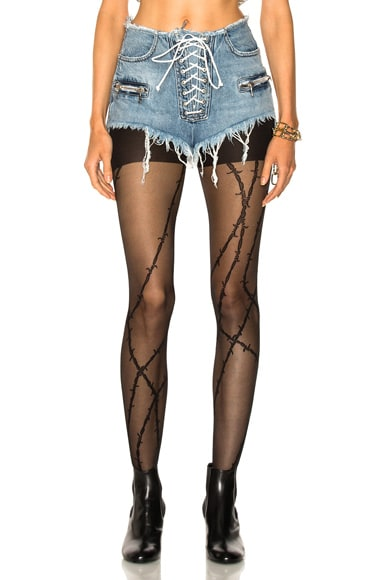 Lace Front Denim Shorts