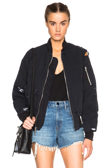 Unravel FWRD Exclusive Destroyed Twill Bomber Jacket in Black