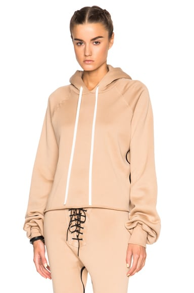 Unravel FWRD Exclusive Oversize Sleeve Cashmere Hoodie in Nude