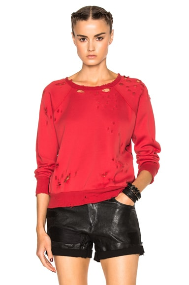 Unravel Destroy Terry Raglan Sweatshirt in Lipstick