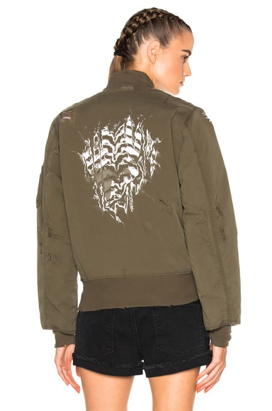 Unravel Oversized Bomber Jacket in Sunfaded Army Green
