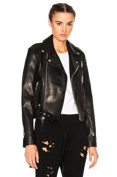 Unravel Leather Lace Up Biker Jacket in Black