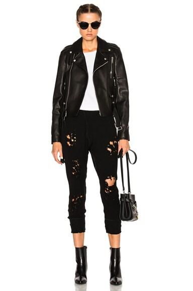 Leather Lace Up Biker Jacket