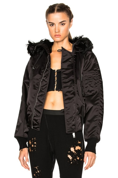 Unravel Bomber Fur Hooded Jacket in Black