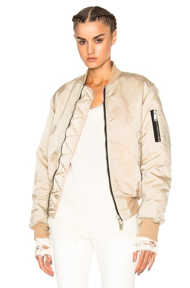 Unravel Distress Nylon Bomber in Nude