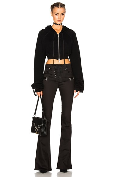 Unravel Cropped Cashmere Oversize Sleeve Hoodie in Black