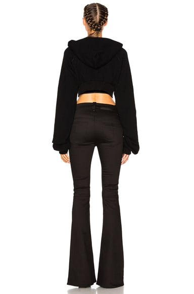 Cropped Cashmere Oversize Sleeve Hoodie