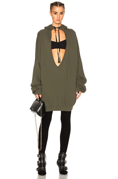 Unravel Terry V Neck Hoodie in Army