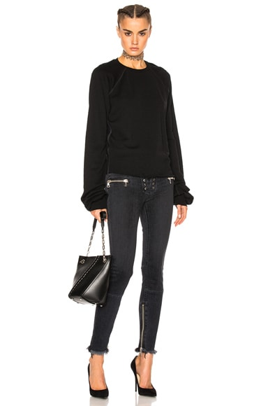 Unravel Terry Oversize Sleeve Raglan Sweatshirt in Black