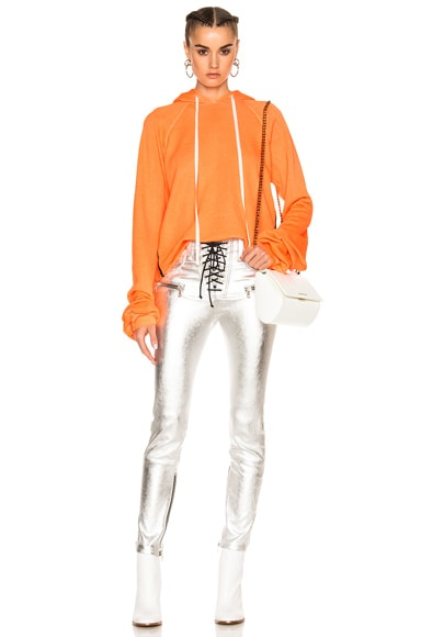 Unravel for FWRD Cropped Oversized Sleeve Hoodie in Sunfaded Neon Orange
