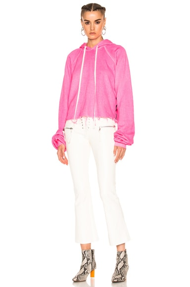 Unravel for FWRD Cropped Oversized Sleeve Hoodie in Sunfaded Neon Pink