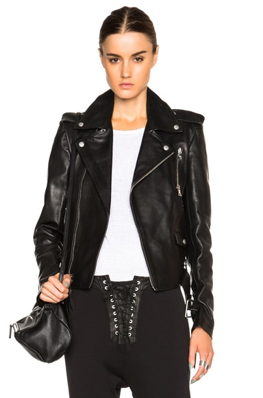 Unravel Lace Up Biker Jacket in Black